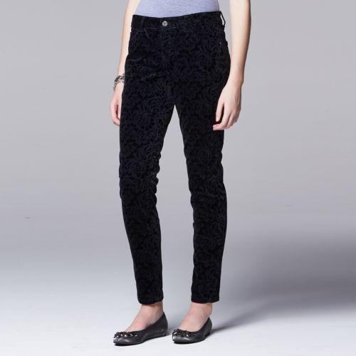 Women's Simply Vera Vera Wang Flocked Skinny Pants