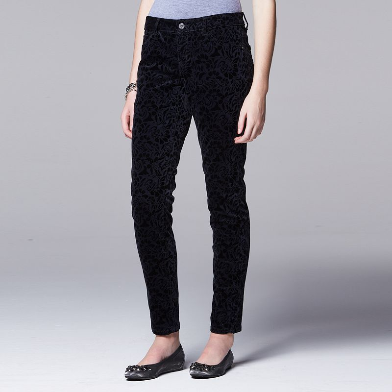 Women's Simply Vera Vera Wang Flocked Skinny Pants