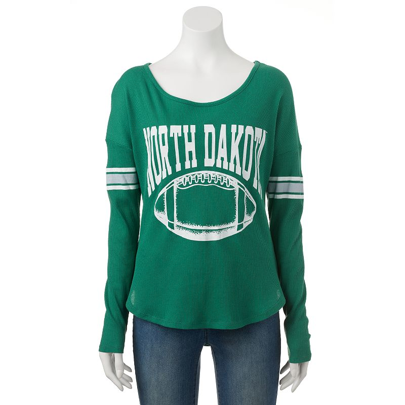 Women's North Dakota Waffle Burnout Tee