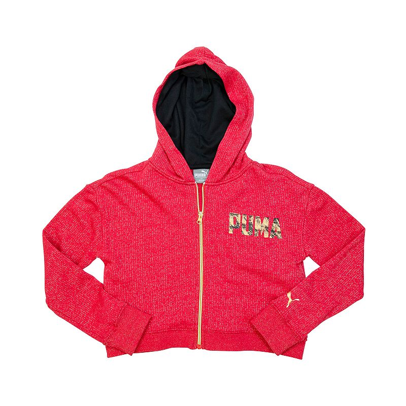 PUMA Girls' Shimmer Zip-Up Fleece Hoodie
