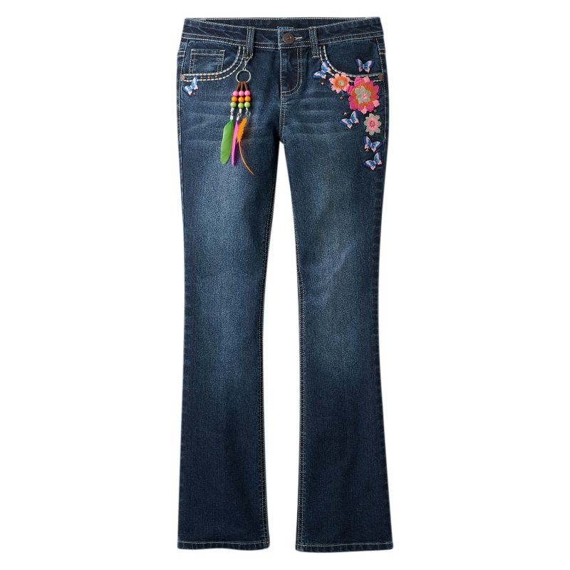 SQUEEZE EMBROIDERED KEYCHAIN BOOTCUT JEANS  GIRLS 714
