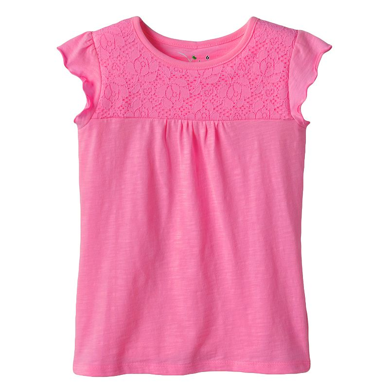Girls 4 10 Jumping Beans Floral Lace Tee Dealtrend