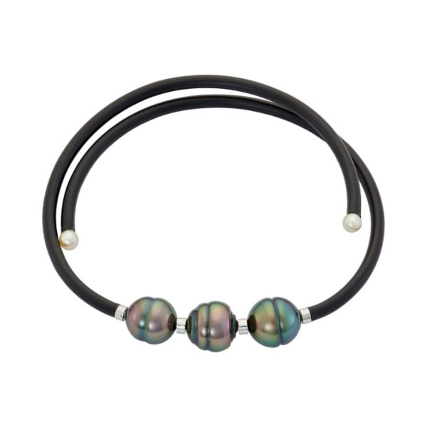 Tahitian & Akoya Cultured Pearl Sterling Silver Rubber Stretch Bracelet
