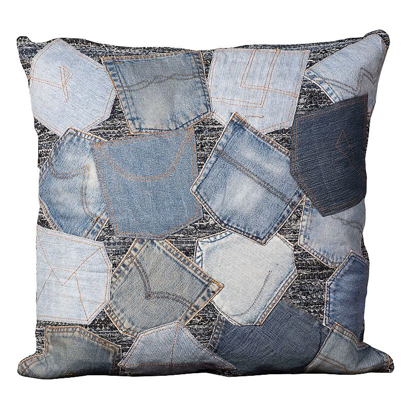 Mina Victory 20'' x 20'' Patchwork Denim Throw Pillow