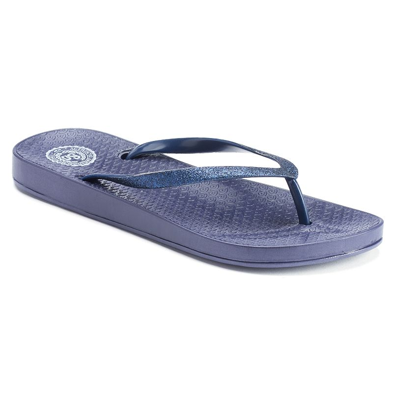 SO® Women's Glitter Thong Flip-Flops