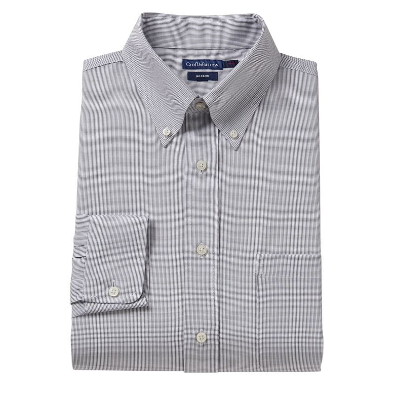 Croft & Barrow® Slim-Fit Grid No-Iron Dress Shirt - Men