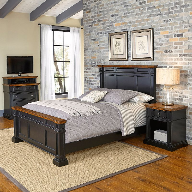 styles americana vintage 3 piece bed night stand media chest set