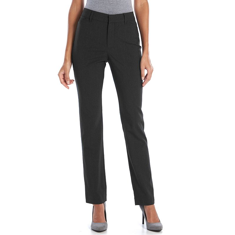 Gloria Vanderbilt Peony Pinstripe Slim Straight-Leg Pants - Women's