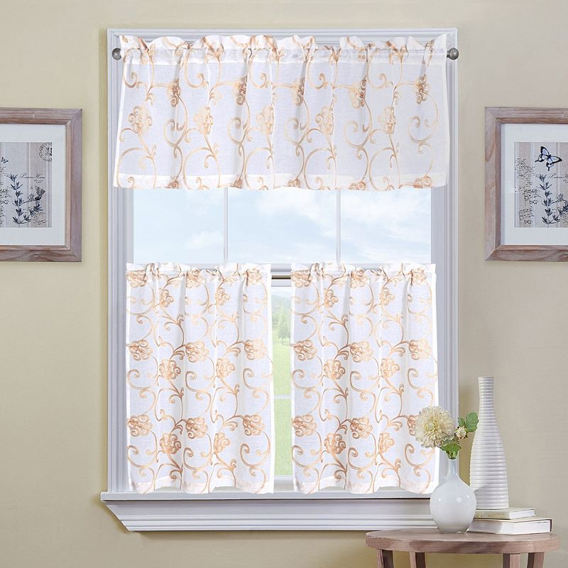 Mystique Home Holly 3 Pc Tier Kitchen Curtain Set