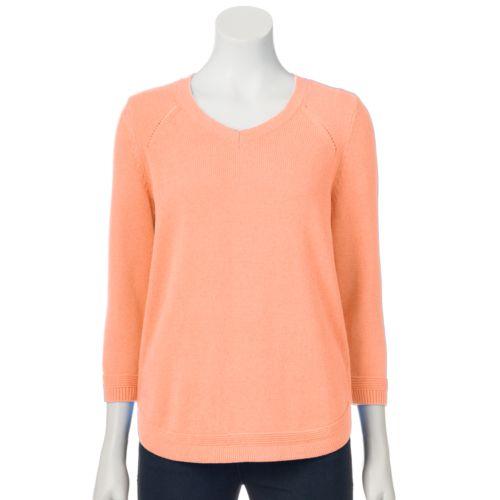 Women's Croft & Barrow® Pointelle Crewneck Sweater