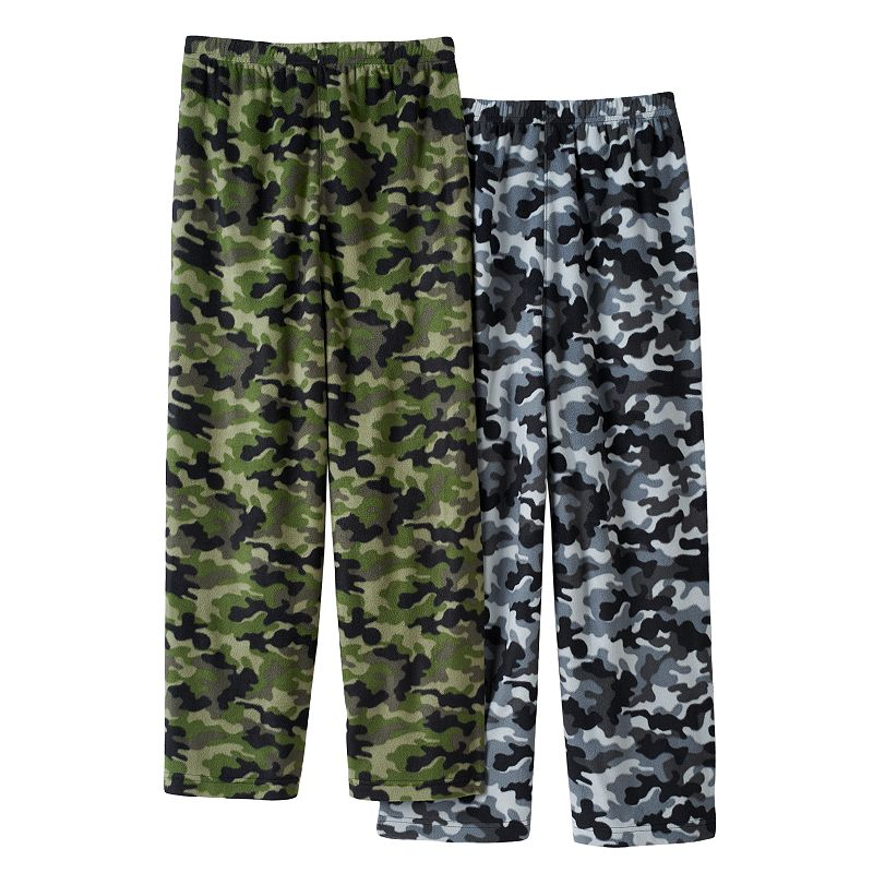 Boys Camouflage 2-Pack Fleece Pajama Bottoms