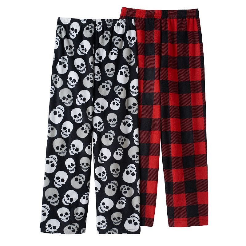 Skulls & Plaid 2-Pack Fleece Pajama Bottoms - Boys 8-20
