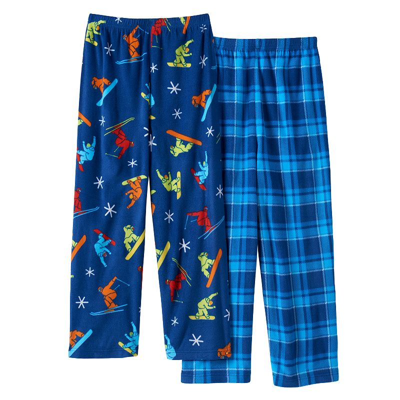Snowboard & Plaid 2-Pack Fleece Pajama Bottoms - Boys 8-20