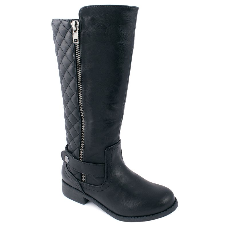 Mia Cora Girls' Tall Quilted Moto Boots