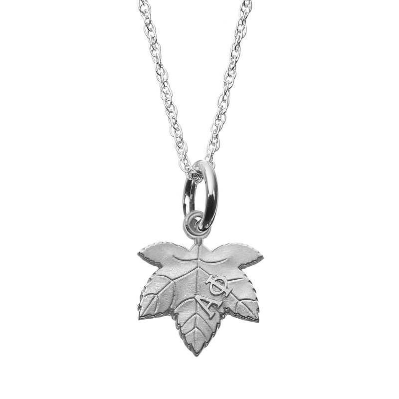 LogoArt Sterling Silver Alpha Phi Sorority Ivy Leaf Pendant Necklace