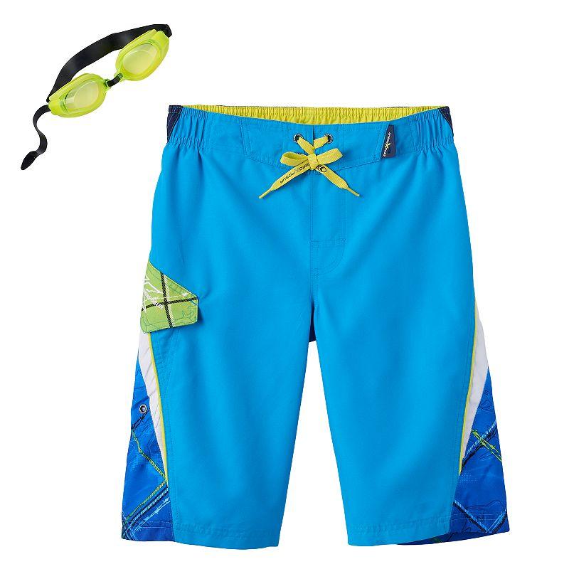 Boys 8-20 ZeroXposur Shark Plaid Swim Trunks With Goggles
