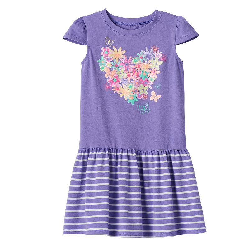 Toddler Girl Jumping Beans® Shiny Graphic Drop-Waist Dress