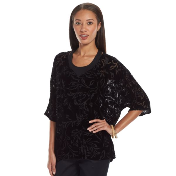 Gloria Vanderbilt Floral Crushed Velvet Top - Women's