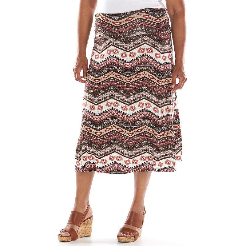 Loramendi Solid Skirt - Women's Plus Size (Brown)