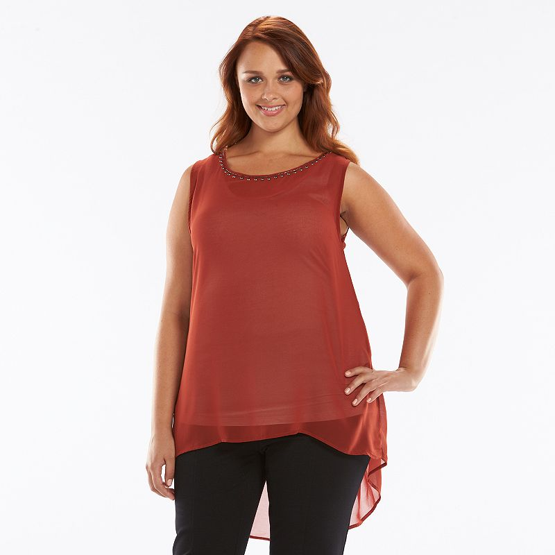 Plus Size Loramendi Embellished High-Low Sheer Top