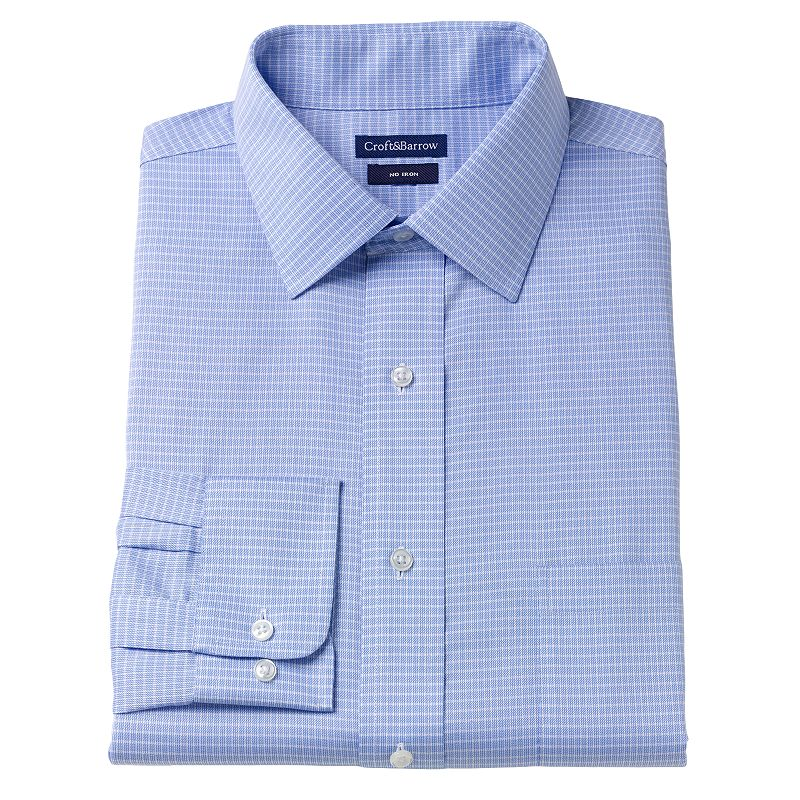 Croft & Barrow® Fitted Checked Wrinkle-Resistant Dress Shirt - Men- Men