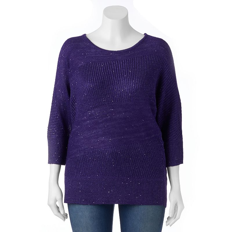 Plus Size Apt. 9® Sequin Dolman Scoopneck Sweater