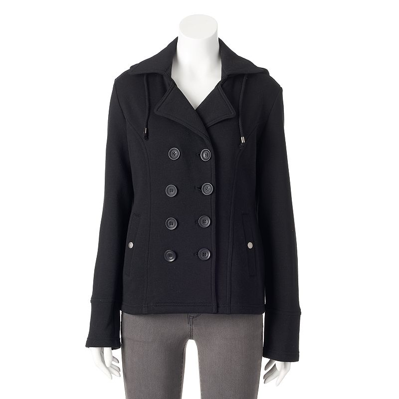 Women's Sebby Hooded Fleece Double-Breasted Peacoat