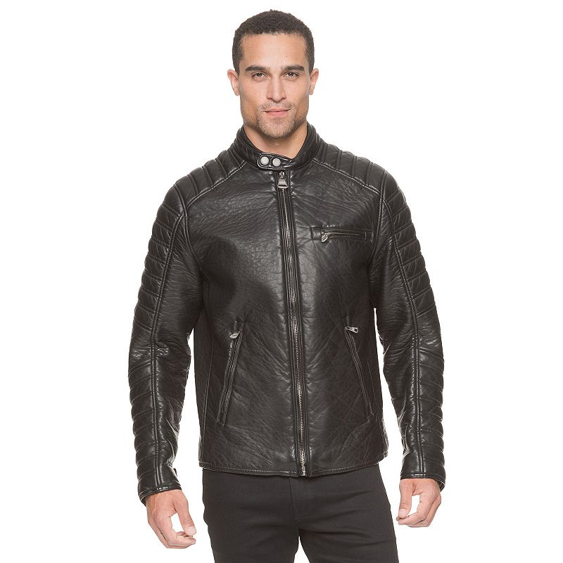 Men's Andrew Marc Broadway Modern-Fit Faux-Leather Moto Jacket