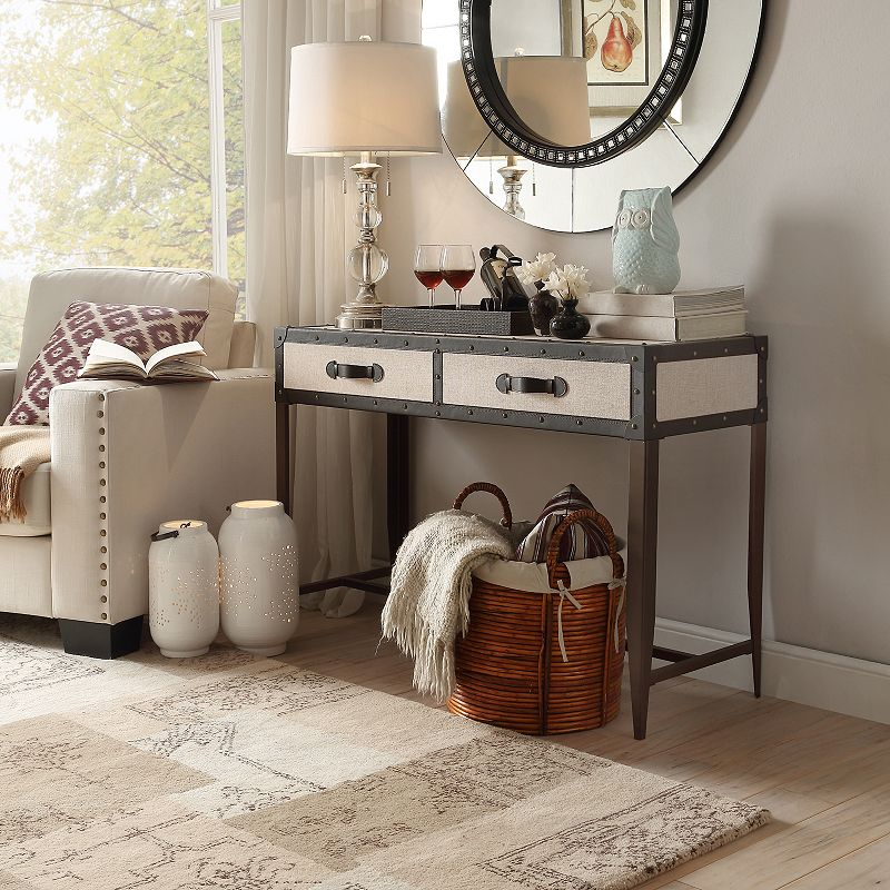 HomeVance Waverly Steamer Trunk Console Table