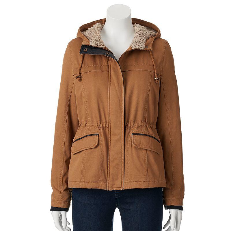 Women's Sebby Hooded Sherpa-Lined Twill Jacket