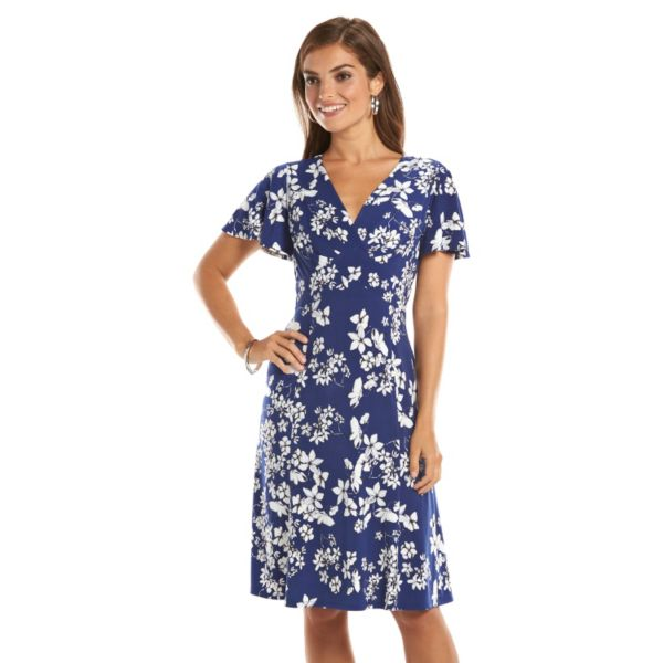 Chaps Floral Print Empire Dress