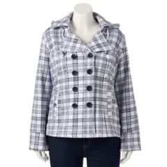 Plus Size Sebby Hooded Fleece Plaid Double-Breasted Peacoat