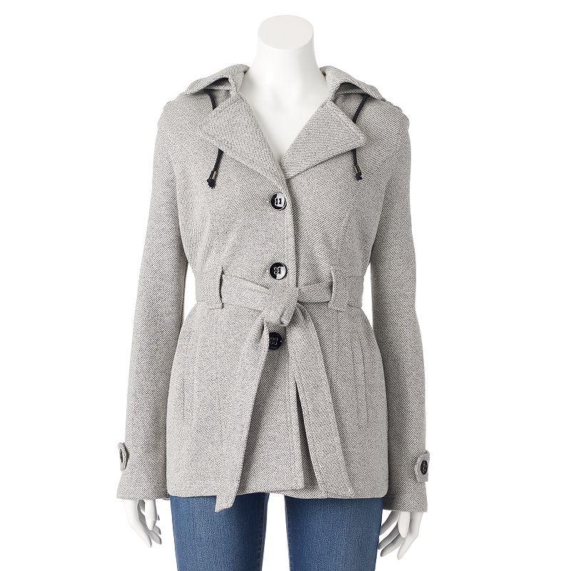 Women's Sebby Hooded Fleece Belted Peacoat