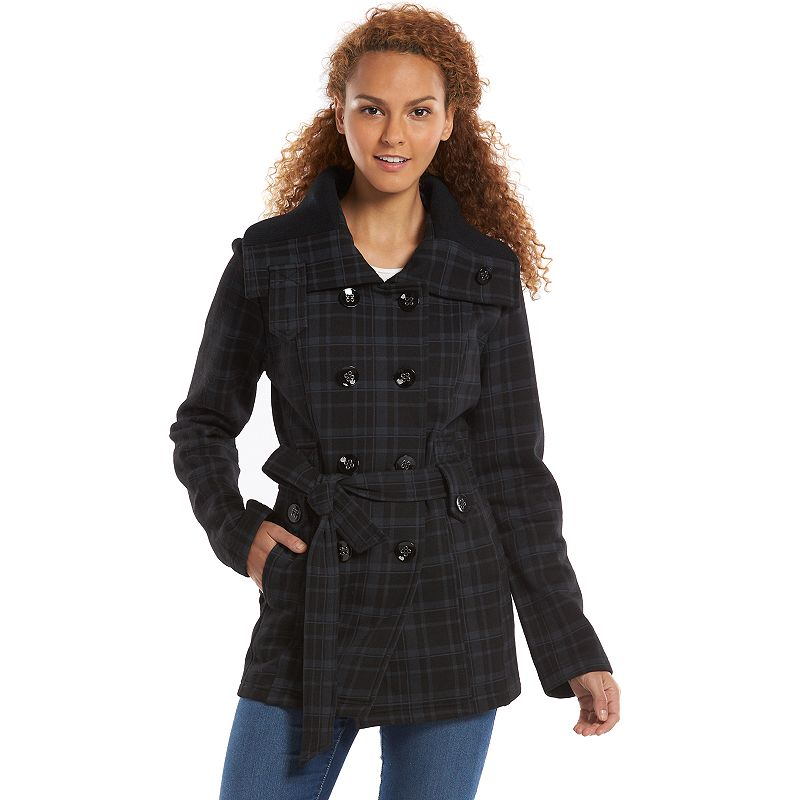 Women's Sebby Plaid Double-Breasted Fleece Peacoat