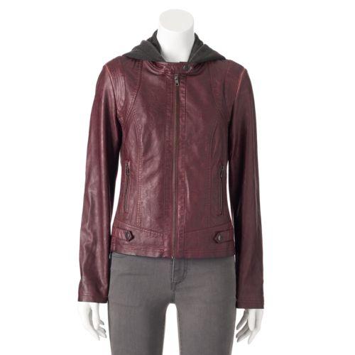 Women's Sebby Hooded Faux-Leather Motorcycle Jacket