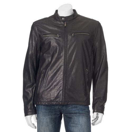 Men's Dockers Leather Shell Classic Racer Jacket