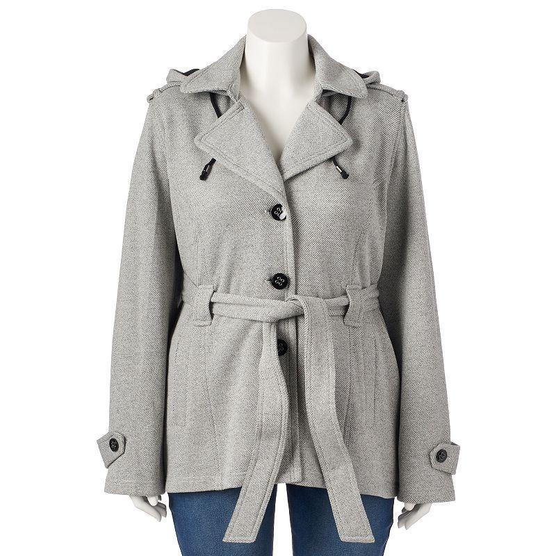 Plus Size Sebby Hooded Fleece Belted Peacoat