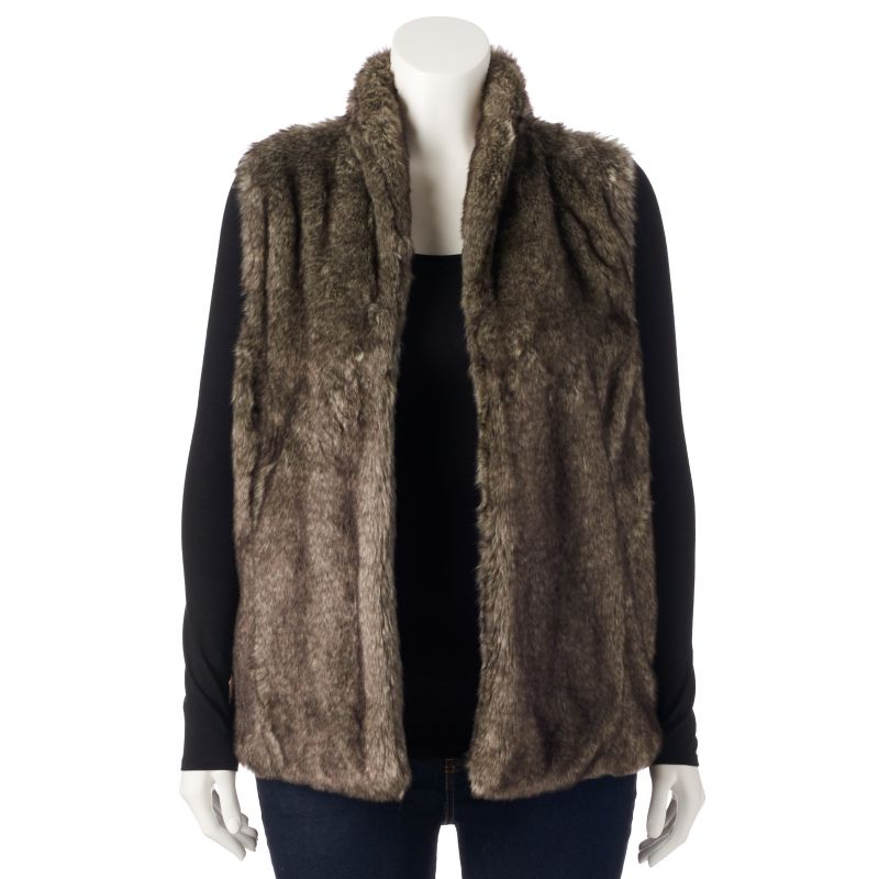 Sebby Faux-Fur Sweater-Back Vest - Women's Plus Size, Size: 1X (Brown)