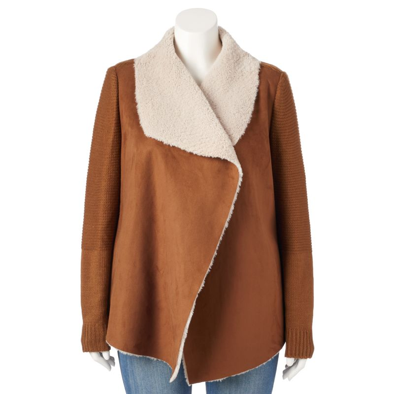 Plus Size Sebby Faux-Shearling Open-Front Sweater Jacket, Women's, Size: 1X, Brown