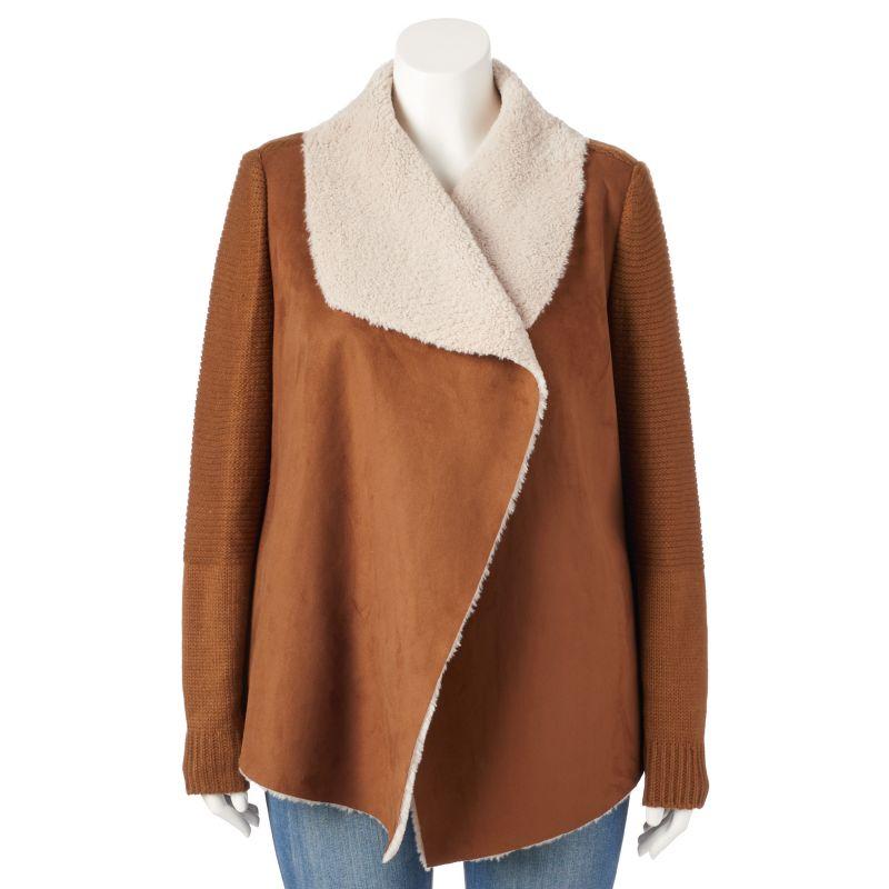 Plus Size Sebby Faux-Shearling Open-Front Sweater Jacket, Women's, Size: 1X, Brown