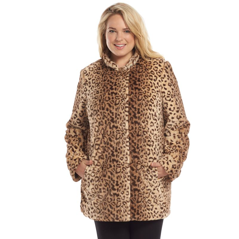 Sebby Leopard Faux-Fur Coat - Women's Plus Size, Size: 1X (Brown)