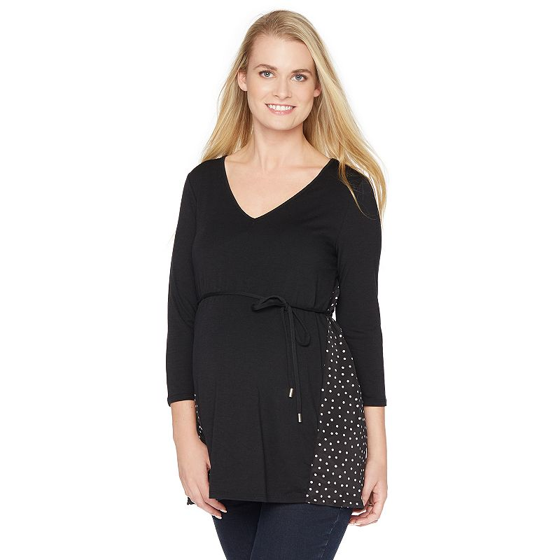 Maternity Oh Baby by Motherhood™ Mixed-Media Swing Tunic