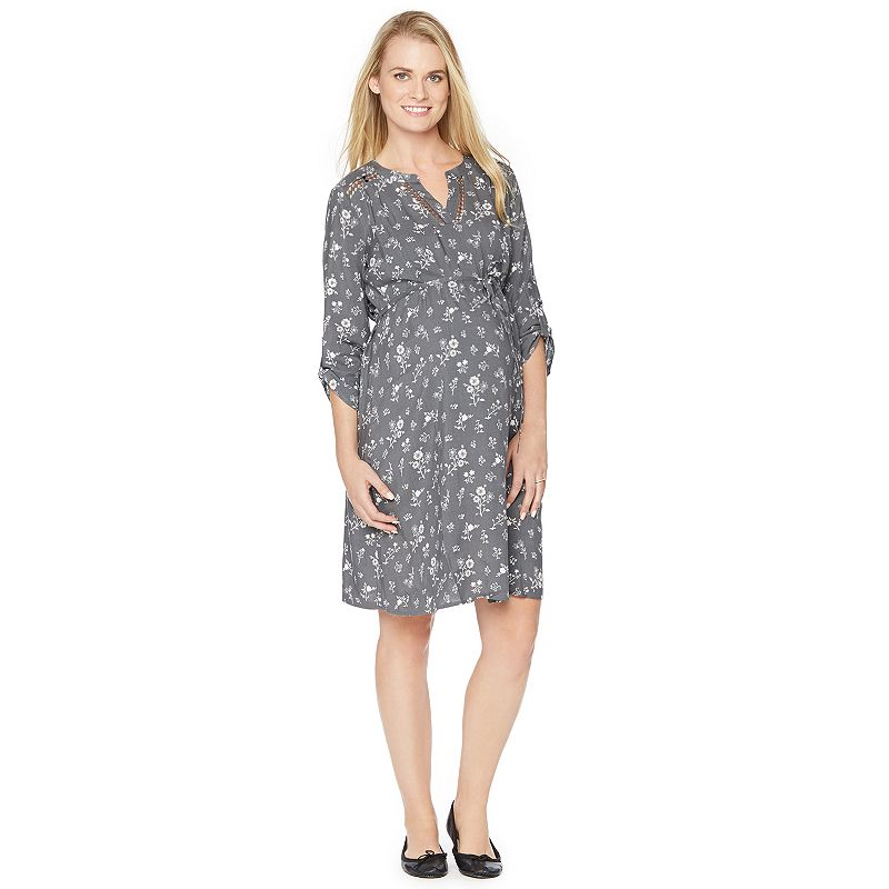 Maternity Oh Baby by Motherhood™ Crochet-Trim Shirt Dress