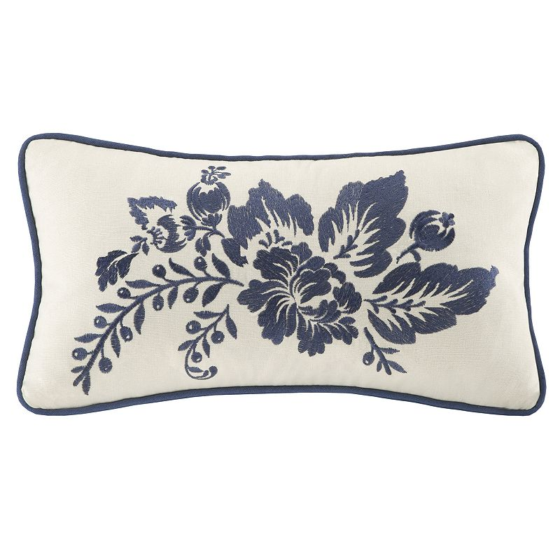 HH ST. TROPEZ EMBROIDERED FLORAL THROW PILLOW (BLUE)
