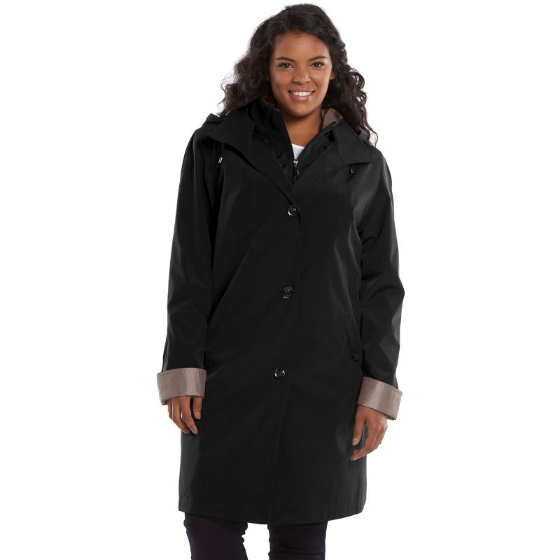 Plus Size Gallery Hooded Rain Jacket, Women's, Size: 1X, Black