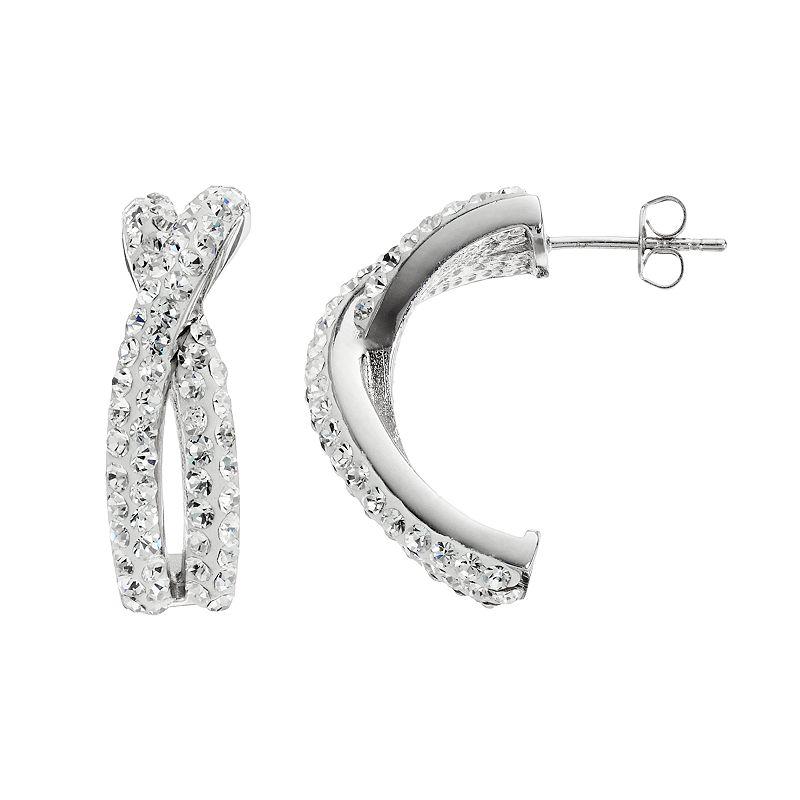 Chrystina Crystal Silver-Plated Crisscross Semi-Hoop Earrings