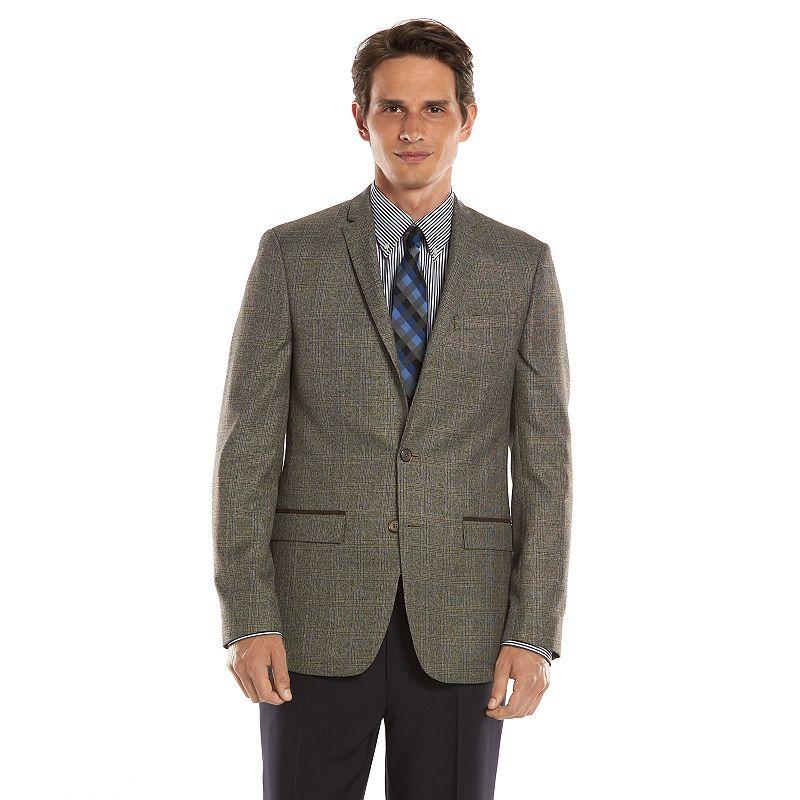 Men's Andrew Fezza Slim-Fit Brown Plaid Sport Coat