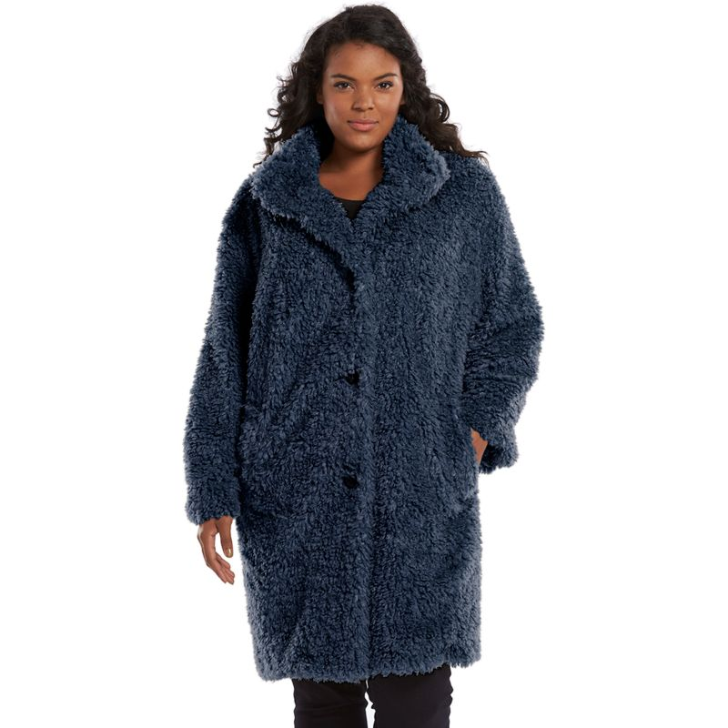 Gallery Plush Faux-Fur Jacket - Women's Plus Size, Size: 1X (Blue)