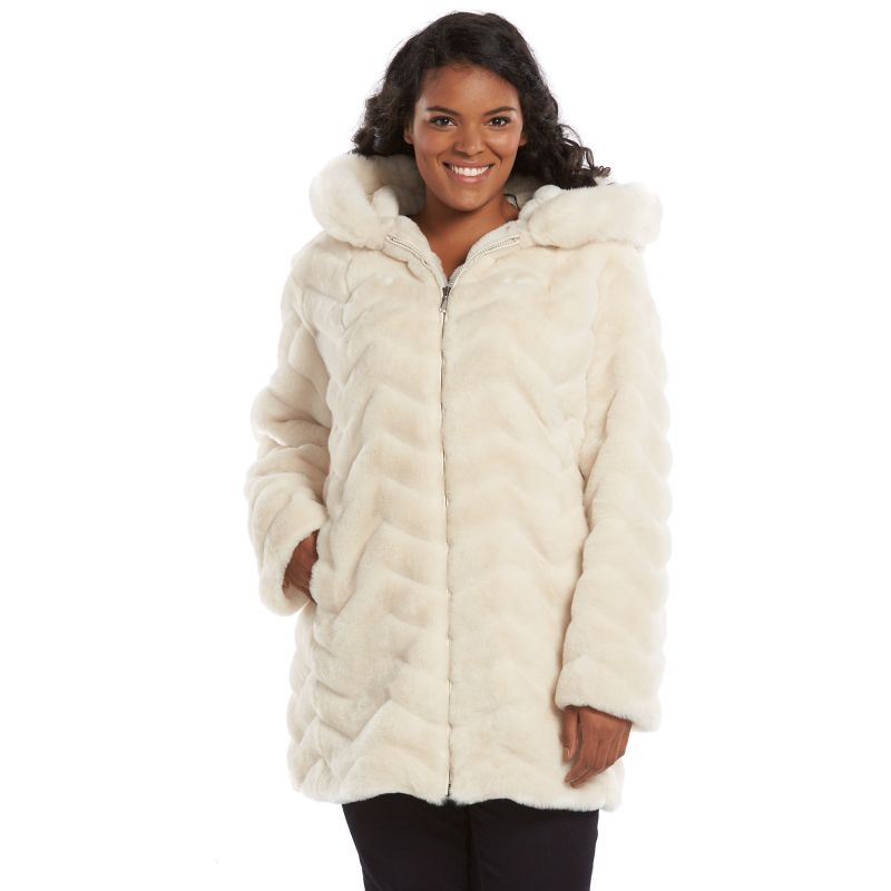 Gallery Hooded Faux-Fur Jacket - Women's Plus Size, Size: 1X (White)