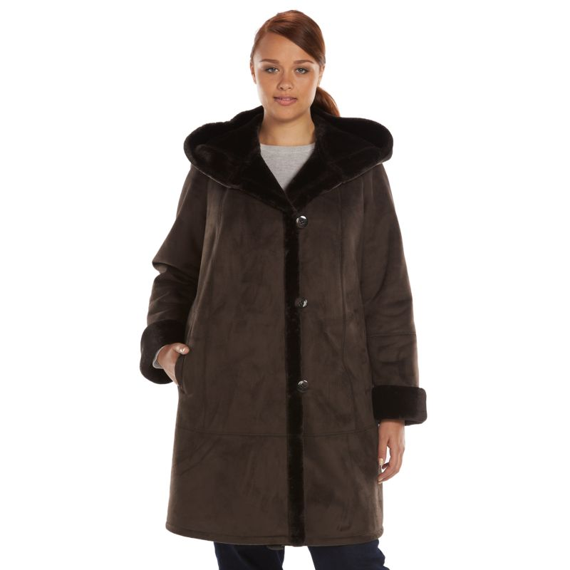 Plus Size Gallery Hooded Faux-Shearling Walker Coat, Women's, Size: 1X, Brown